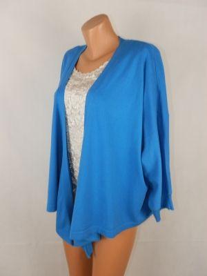 XXXL Тънка памучна машинно плетена синя жилетка-туника (с етикет)
