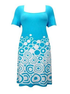 Sheego BLUE Circle Border Print Shift Dress - Plus Size 14 to 32