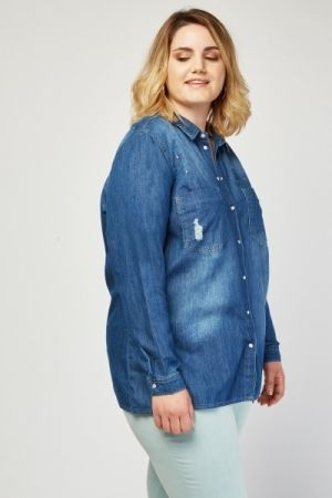 Ripped Trim Encrusted Denim Shirt